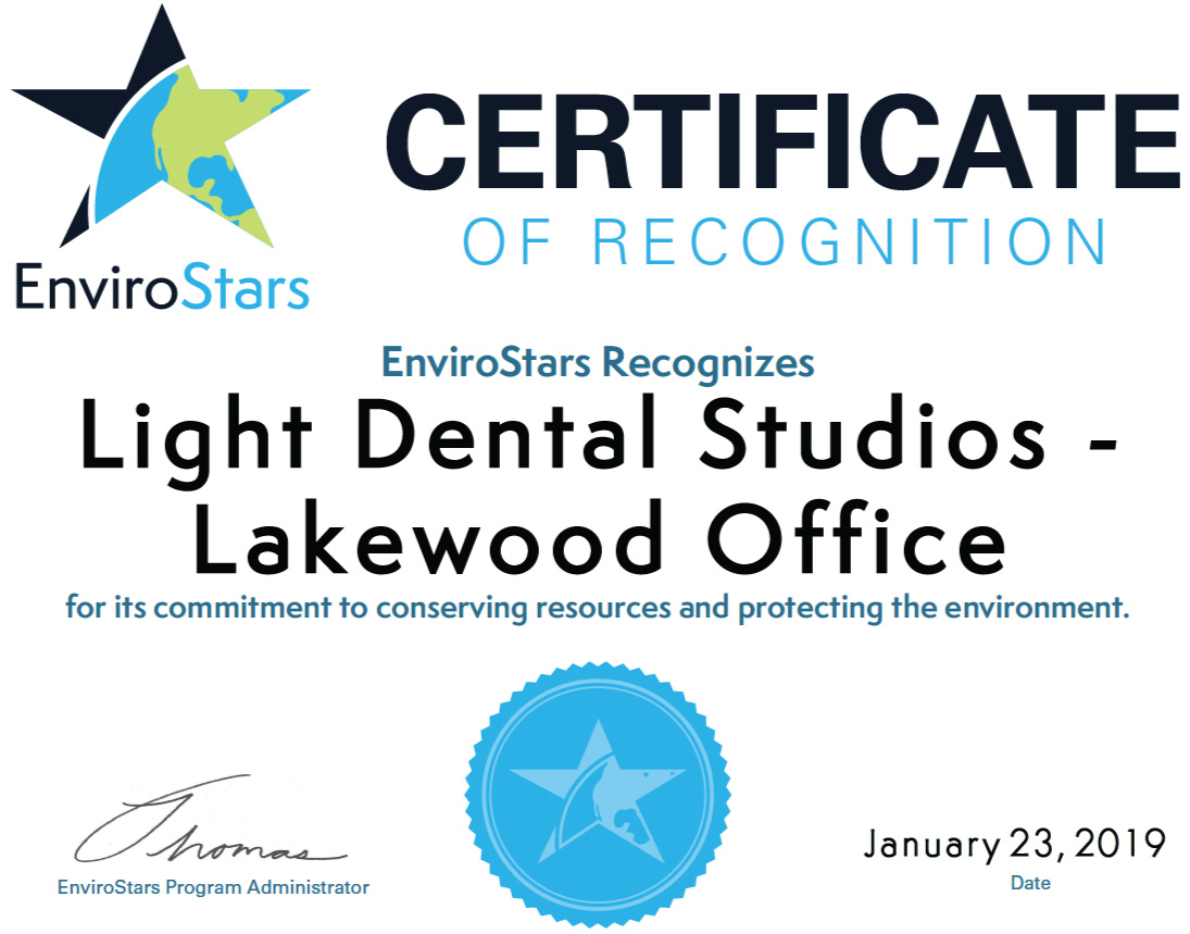 Light Dental Studios of Lakewood Certificate of Recognition