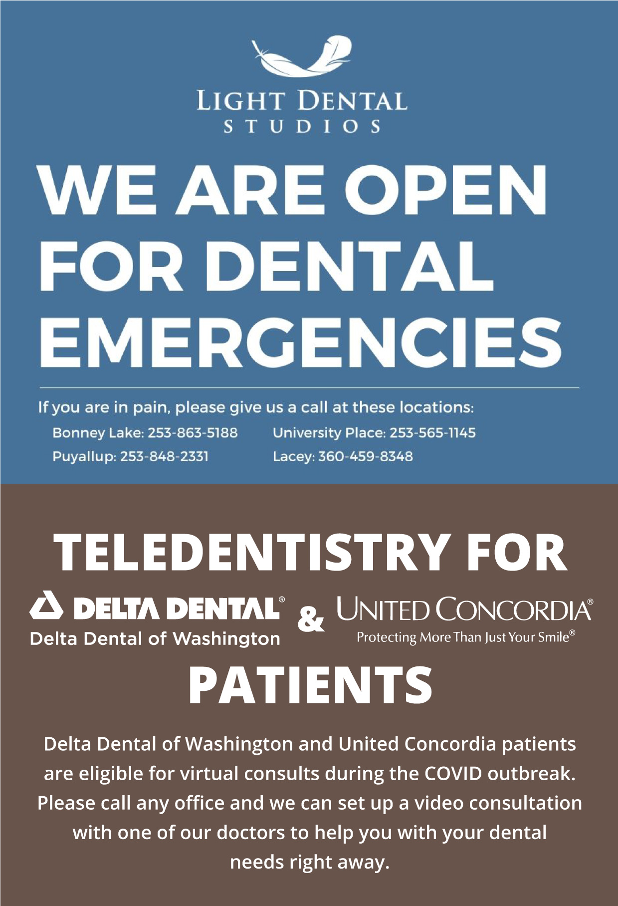 We are open for Dental Emergencies